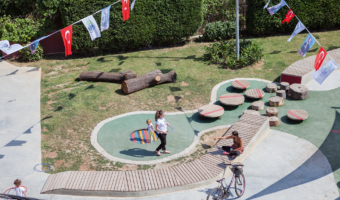 A playground designed for children from birth to age 3 and their caregivers