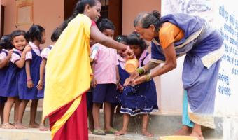 Ensuring regular hand washing as part of anganwadi teacher training and field monitoring