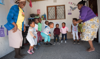 Children at a non-centre-based service in South Africa